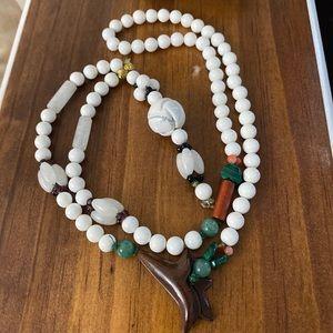 Antique multicolored Jadeite Jade Bead Necklace